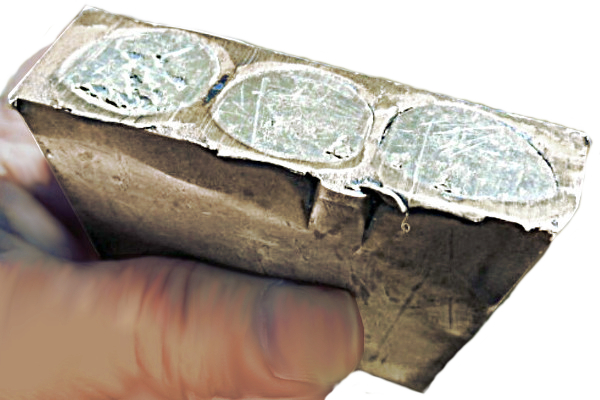 Silver bullion cored and filled with lead alloy