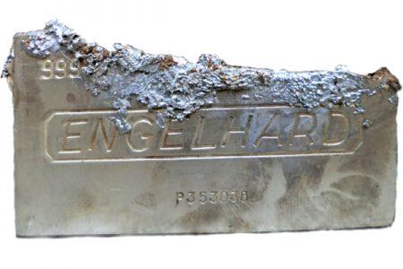 "Heated ""Engelhard"" bar reveals lead and tin"